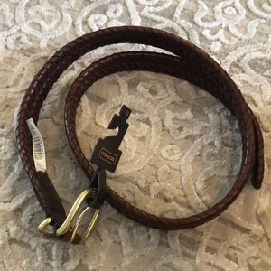 Men's coach belt with gold buckle
